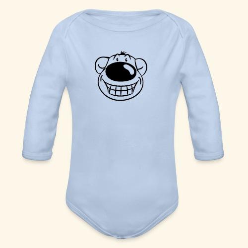 Bär grinst frech - Baby Bio-Langarm-Body