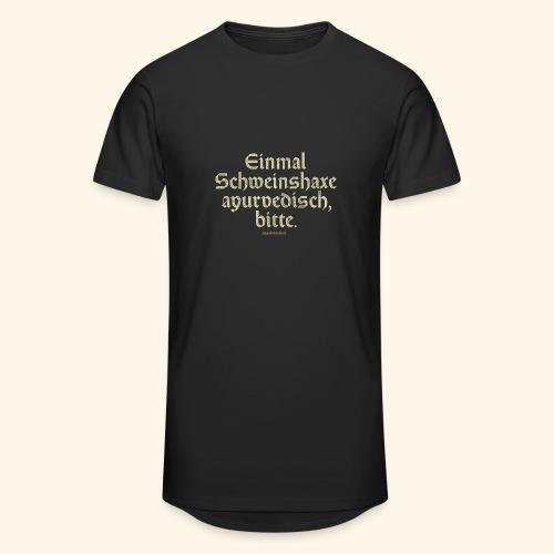 lustiges Sprüche -T-Shirt Schweinshaxe ayurvedisch - Männer Urban Longshirt