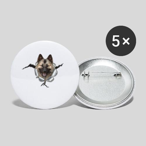 Eurasier im *Metall-Loch* - Buttons klein 25 mm (5er Pack)
