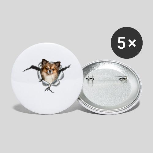 Chihuahua im *Metall-Loch* - Buttons klein 25 mm (5er Pack)