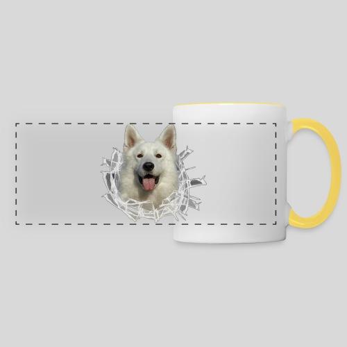 Weißer Schäferhund im *Glas-Loch* - Panoramatasse