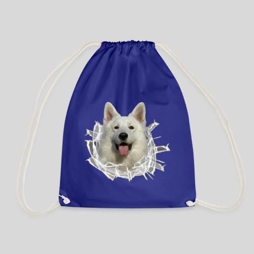 Weißer Schäferhund im *Glas-Loch* - Turnbeutel