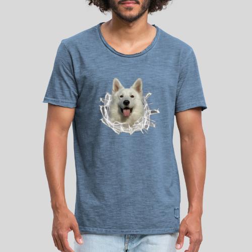 Weißer Schäferhund im *Glas-Loch* - Männer Vintage T-Shirt