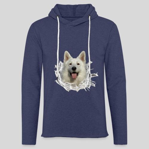 Weißer Schäferhund im *Glas-Loch* - Leichtes Kapuzensweatshirt Unisex