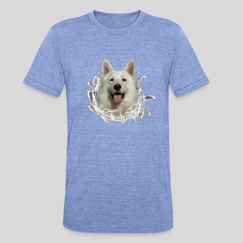 Weißer Schäferhund im *Glas-Loch* - Unisex Tri-Blend T-Shirt von Bella + Canvas