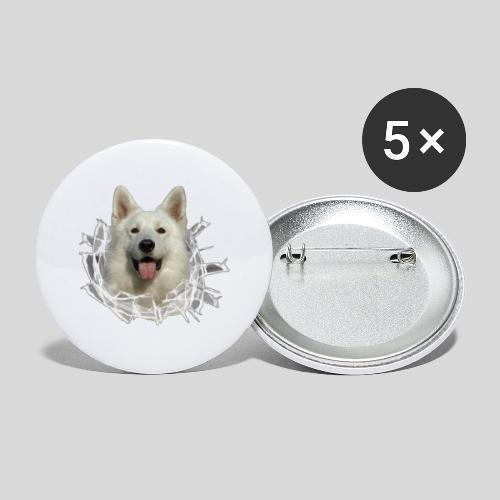 Weißer Schäferhund im *Glas-Loch* - Buttons groß 56 mm (5er Pack)