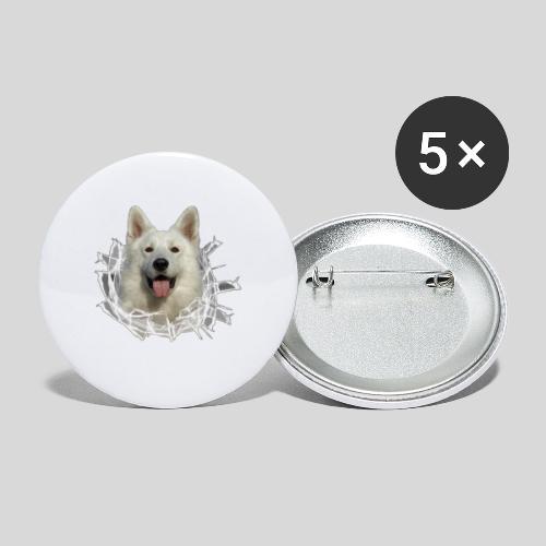 Weißer Schäferhund im *Glas-Loch* - Buttons mittel 32 mm (5er Pack)