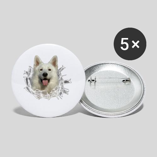Weißer Schäferhund im *Glas-Loch* - Buttons klein 25 mm (5er Pack)