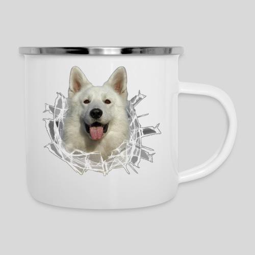 Weißer Schäferhund im *Glas-Loch* - Emaille-Tasse