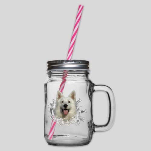 Weißer Schäferhund im *Glas-Loch* - Henkelglas mit Schraubdeckel