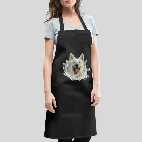 Weißer Schäferhund im *Glas-Loch* - Kochschürze