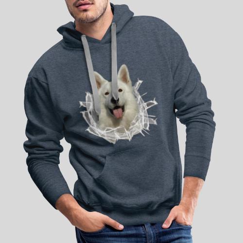 Weißer Schäferhund im *Glas-Loch* - Männer Premium Hoodie