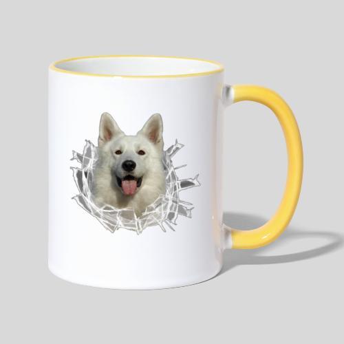 Weißer Schäferhund im *Glas-Loch* - Tasse zweifarbig