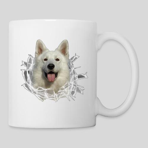 Weißer Schäferhund im *Glas-Loch* - Tasse