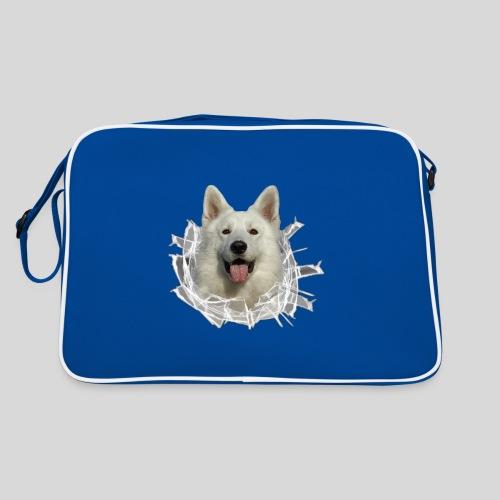 Weißer Schäferhund im *Glas-Loch* - Retro Tasche