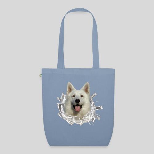 Weißer Schäferhund im *Glas-Loch* - Bio-Stoffbeutel