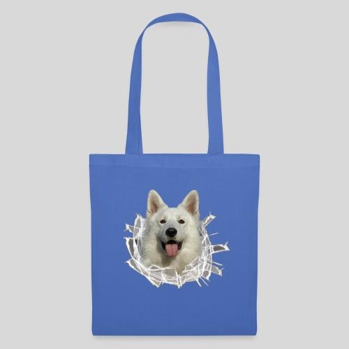 Weißer Schäferhund im *Glas-Loch* - Stoffbeutel
