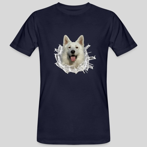 Weißer Schäferhund im *Glas-Loch* - Männer Bio-T-Shirt