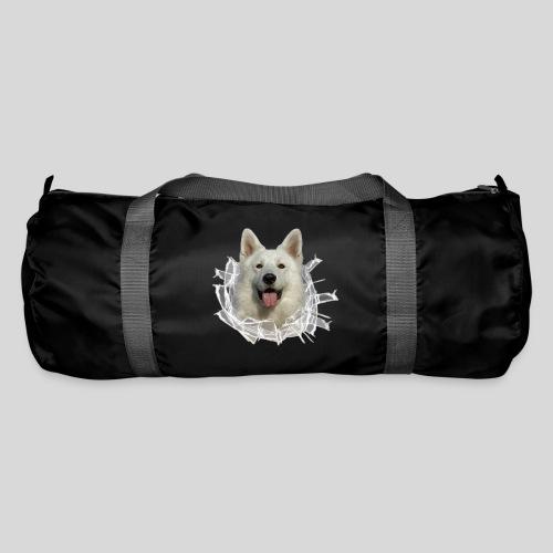 Weißer Schäferhund im *Glas-Loch* - Sporttasche