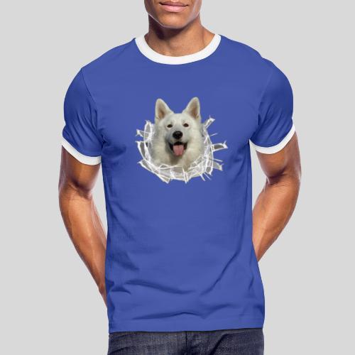 Weißer Schäferhund im *Glas-Loch* - Männer Kontrast-T-Shirt