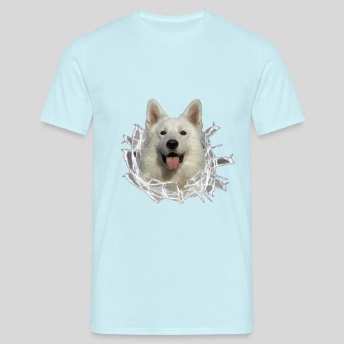 Weißer Schäferhund im *Glas-Loch* - Männer T-Shirt