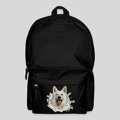 Weißer Schäferhund im *Glas-Loch* - Rucksack