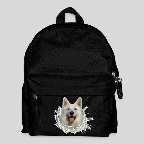 Weißer Schäferhund im *Glas-Loch* - Kinder Rucksack