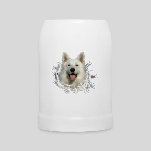 Weißer Schäferhund im *Glas-Loch* - Bierkrug