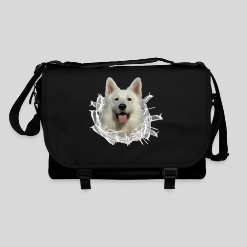Weißer Schäferhund im *Glas-Loch* - Umhängetasche