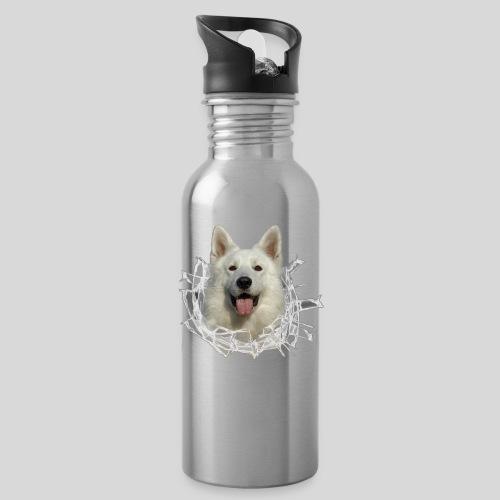 Weißer Schäferhund im *Glas-Loch* - Trinkflasche