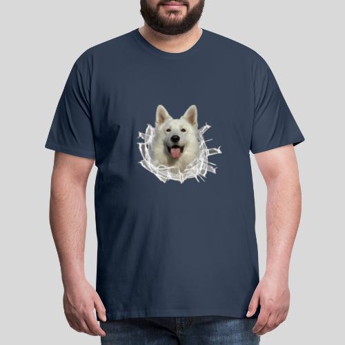 Weißer Schäferhund im *Glas-Loch* - Männer Premium T-Shirt