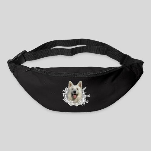 Weißer Schäferhund im *Glas-Loch* - Gürteltasche