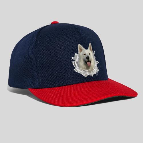 Weißer Schäferhund im *Glas-Loch* - Snapback Cap