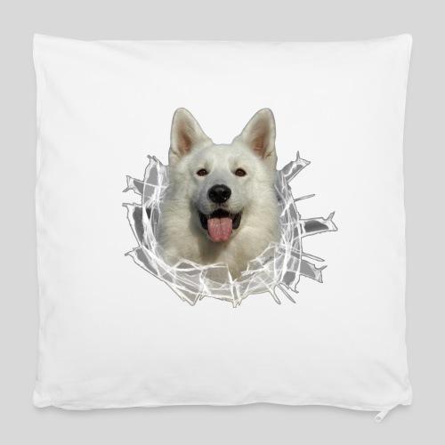 Weißer Schäferhund im *Glas-Loch* - Kissenbezug 40 x 40 cm