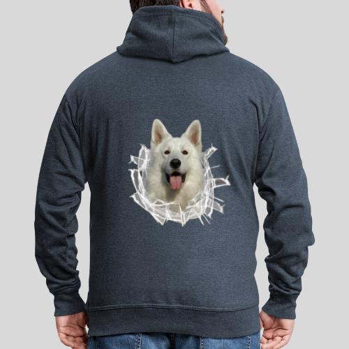 Weißer Schäferhund im *Glas-Loch* - Männer Premium Kapuzenjacke