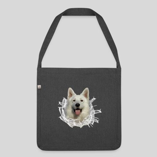 Weißer Schäferhund im *Glas-Loch* - Schultertasche aus Recycling-Material