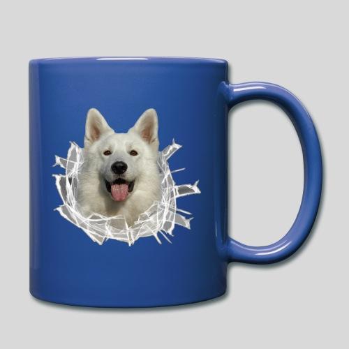 Weißer Schäferhund im *Glas-Loch* - Tasse einfarbig