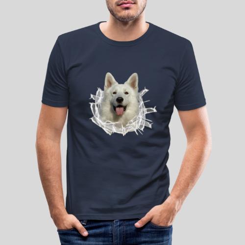 Weißer Schäferhund im *Glas-Loch* - Männer Slim Fit T-Shirt