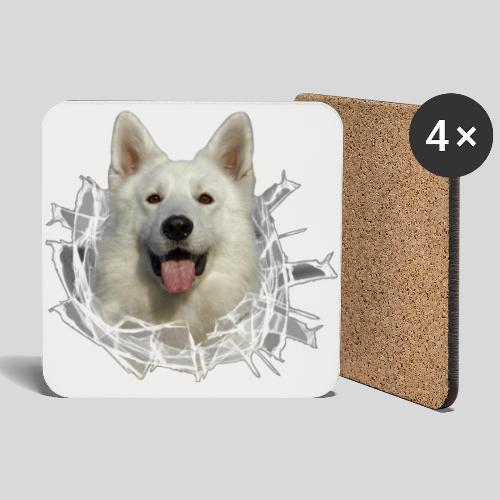 Weißer Schäferhund im *Glas-Loch* - Untersetzer (4er-Set)