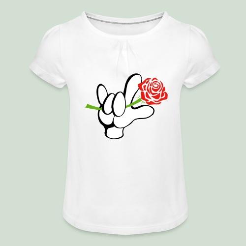 ILY mit Rose - Mädchen-T-Shirt mit Raffungen