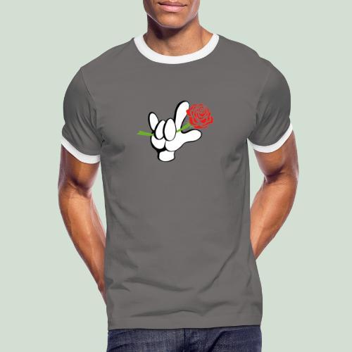 ILY mit Rose - Männer Kontrast-T-Shirt