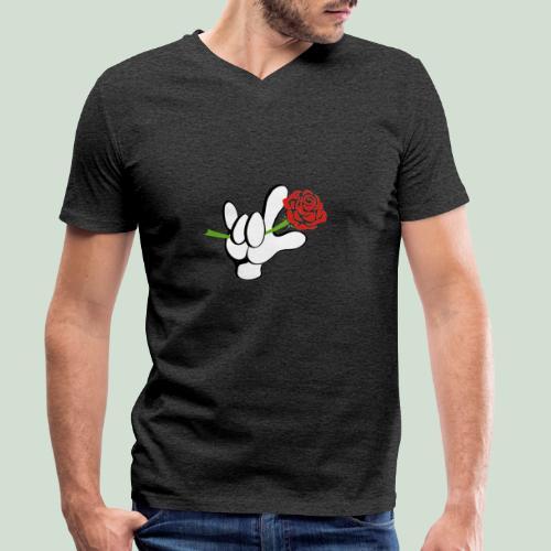 ILY mit Rose - Männer Bio-T-Shirt mit V-Ausschnitt von Stanley & Stella