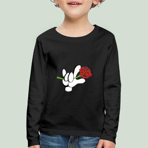ILY mit Rose - Kinder Premium Langarmshirt