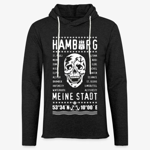 84 Skull Totenkopf Hamburg MEINE STADT Stadtteile - Leichtes Kapuzensweatshirt Unisex