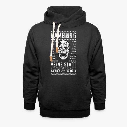 84 Skull Totenkopf Hamburg MEINE STADT Stadtteile - Schalkragen Hoodie