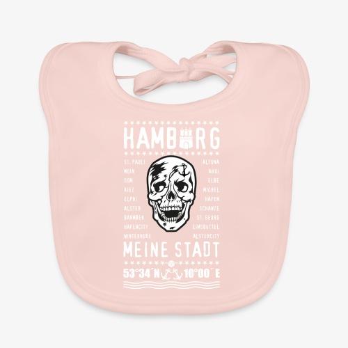 84 Skull Totenkopf Hamburg MEINE STADT Stadtteile - Baby Bio-Lätzchen