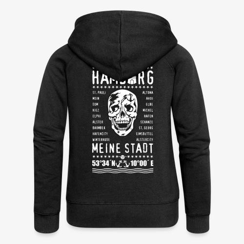84 Skull Totenkopf Hamburg MEINE STADT Stadtteile - Frauen Premium Kapuzenjacke