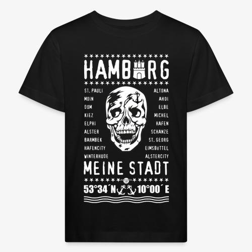 84 Skull Totenkopf Hamburg MEINE STADT Stadtteile - Kinder Bio-T-Shirt