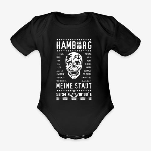 84 Skull Totenkopf Hamburg MEINE STADT Stadtteile - Baby Bio-Kurzarm-Body
