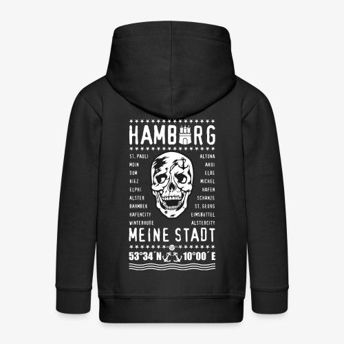 84 Skull Totenkopf Hamburg MEINE STADT Stadtteile - Kinder Premium Kapuzenjacke